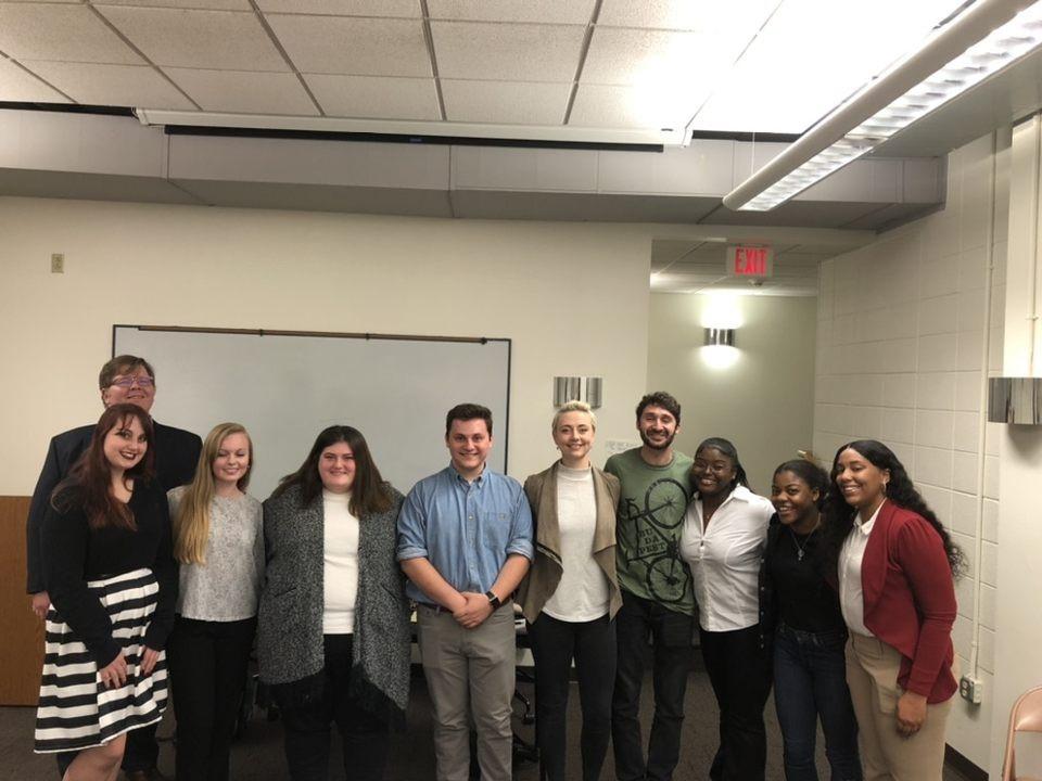 2019 Photo of team members with the British National Debate Team