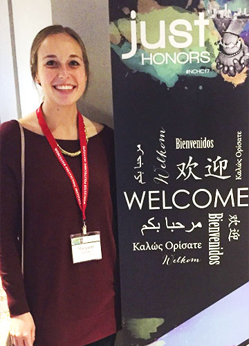 A Bloomsburg Honors student poses at the National Collegiate Honors Council Conference where she presented her research.